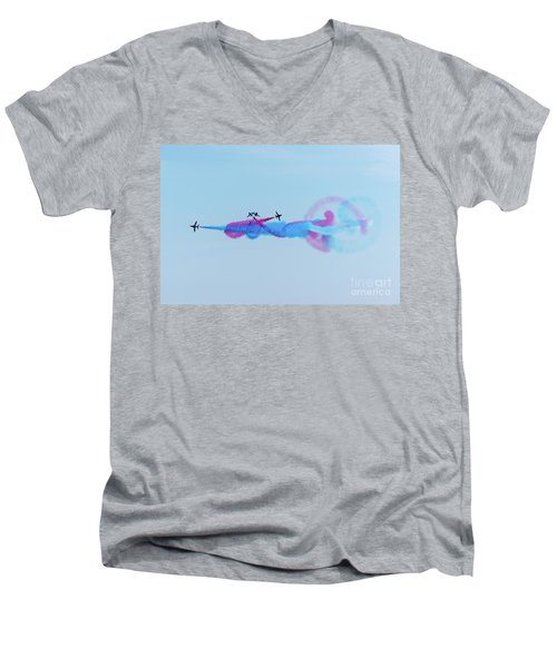 Men's V-Neck T-Shirt featuring the photograph Red Arrows Break by Gary Eason