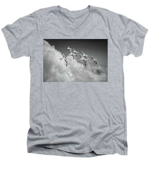 Men's V-Neck T-Shirt featuring the photograph Red Arrows Sky High Bw Version by Gary Eason
