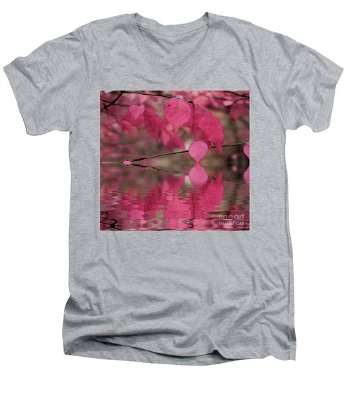 Red Autumn Leaf Reflections Men's V-Neck T-Shirt by Judy Palkimas