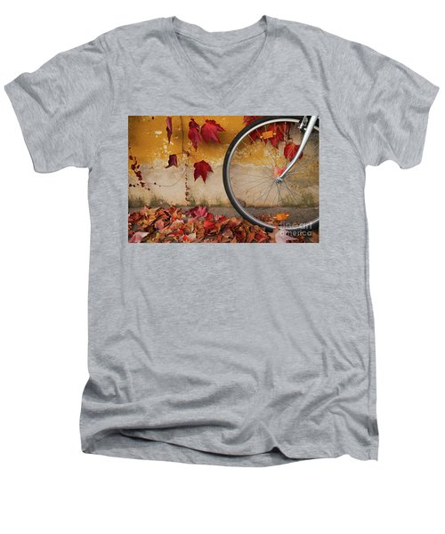 Red Autumn Men's V-Neck T-Shirt by Yuri Santin