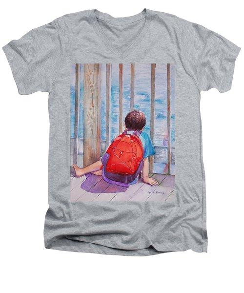 Red Backpack Men's V-Neck T-Shirt