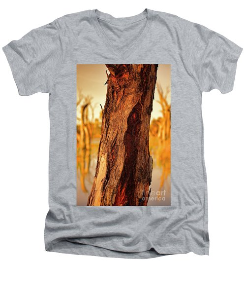 Men's V-Neck T-Shirt featuring the photograph Red Bark by Douglas Barnard