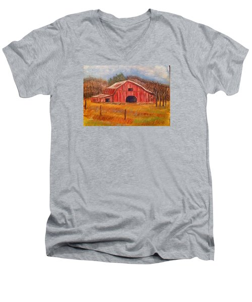 Red Barn Painting Men's V-Neck T-Shirt by Belinda Lawson