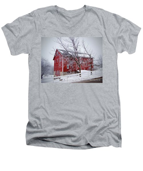 Red Barn Circa 1876 Men's V-Neck T-Shirt by Sue Stefanowicz