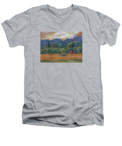 Red Barn Men's V-Neck T-Shirt by Clara Sue Beym