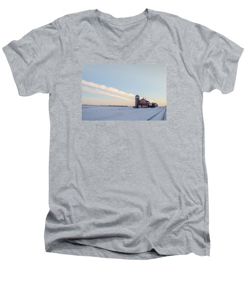 Men's V-Neck T-Shirt featuring the photograph Red Barn by Dan Traun