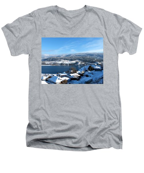 Men's V-Neck T-Shirt featuring the photograph Red Barn In The Distance by Will Borden