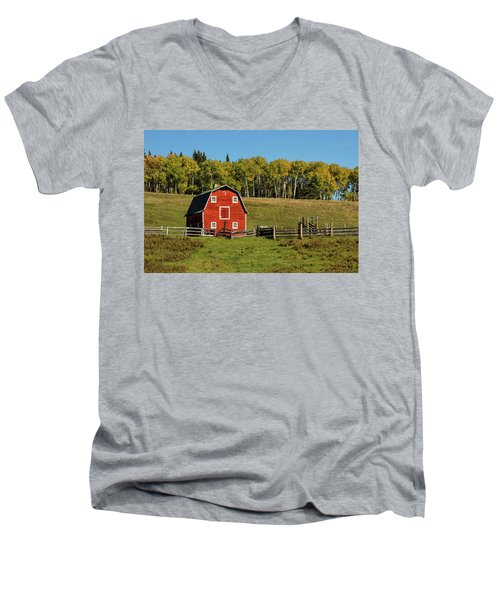 Red Barn On The Hill Men's V-Neck T-Shirt