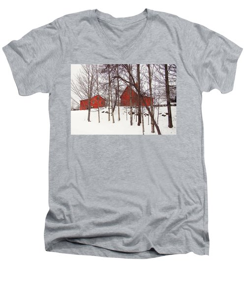 Red Barns Men's V-Neck T-Shirt by Betsy Zimmerli