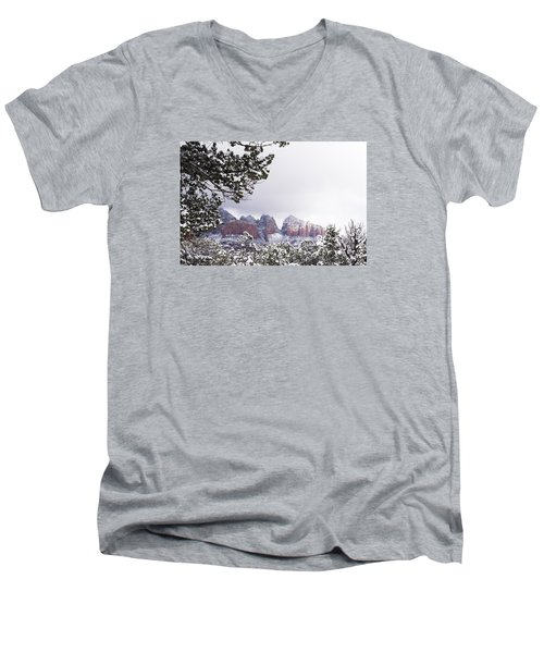Men's V-Neck T-Shirt featuring the photograph Red Beats White by Laura Pratt