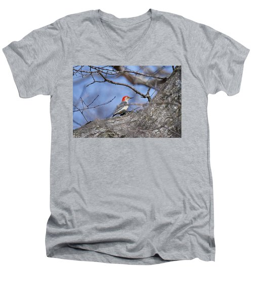 Red-bellied Woodpecker 1134 Men's V-Neck T-Shirt by Michael Peychich
