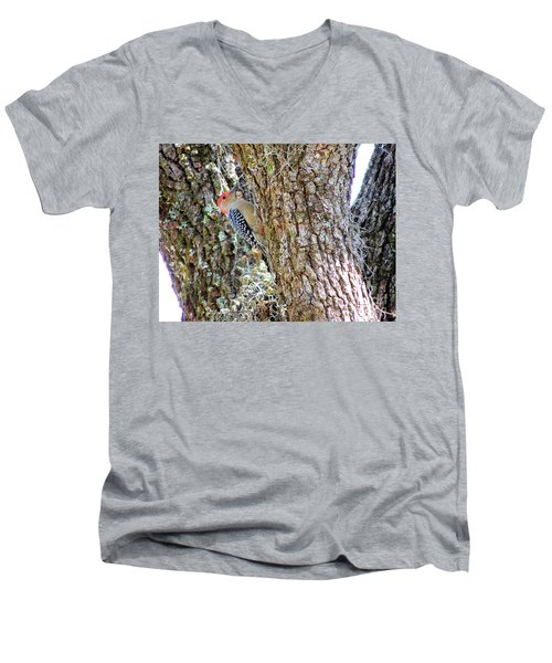 Men's V-Neck T-Shirt featuring the photograph Red-bellied Woodpecker By Bill Holkham by Bill Holkham
