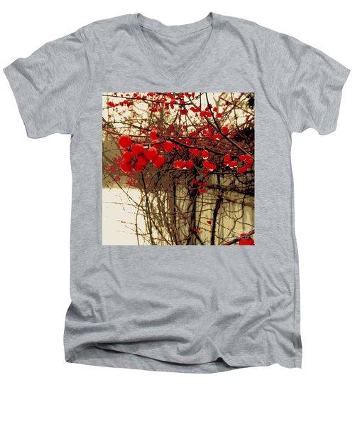 Red Berries In Winter Men's V-Neck T-Shirt by Susan Lafleur