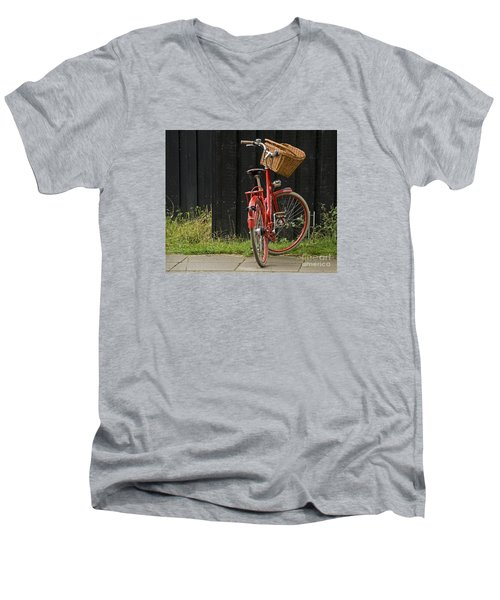 Men's V-Neck T-Shirt featuring the photograph Red Bike by Inge Riis McDonald