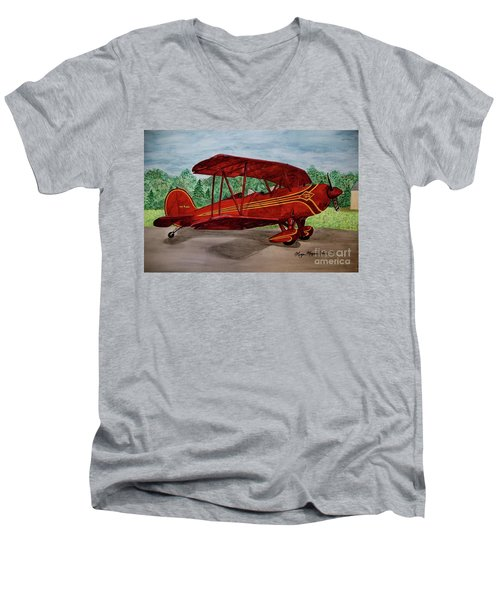 Red Biplane Men's V-Neck T-Shirt by Megan Cohen