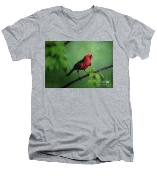 Men's V-Neck T-Shirt featuring the digital art Red Bird On A Hot Day by Lois Bryan