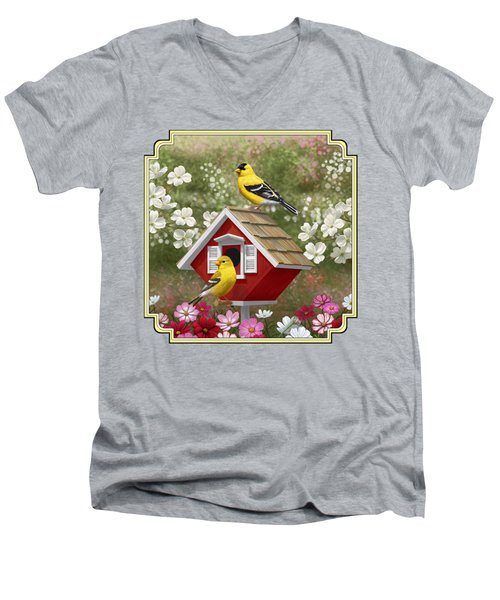 Red Birdhouse And Goldfinches Men's V-Neck T-Shirt by Crista Forest