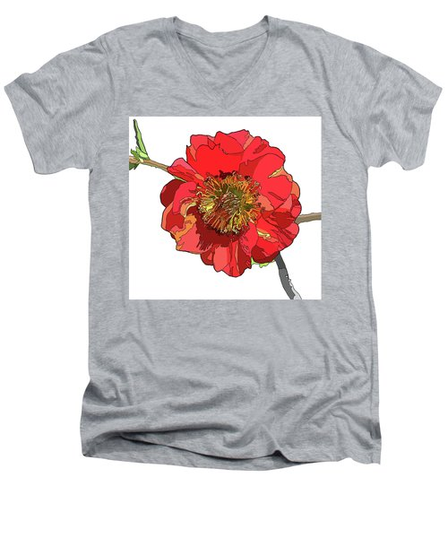 Red Blossom Men's V-Neck T-Shirt by Jamie Downs