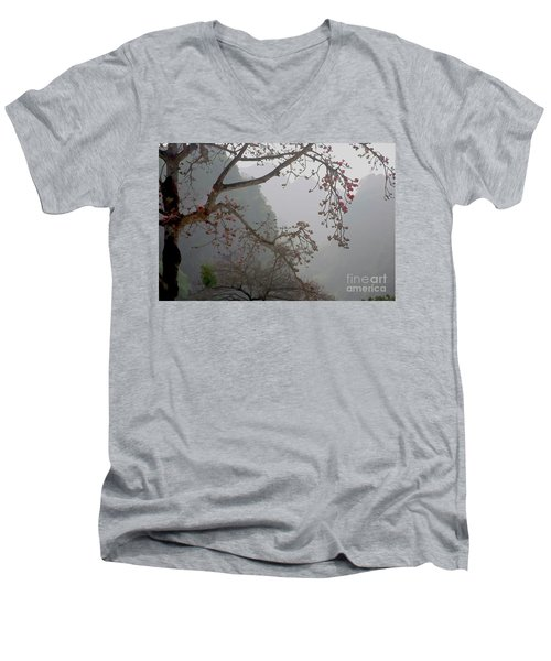Red Blossoms  Vietnam  Men's V-Neck T-Shirt by Chuck Kuhn