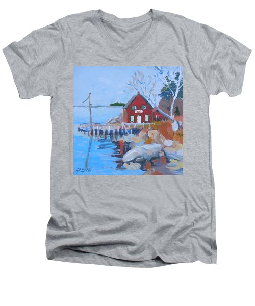 Men's V-Neck T-Shirt featuring the painting Red Boat House by Francine Frank
