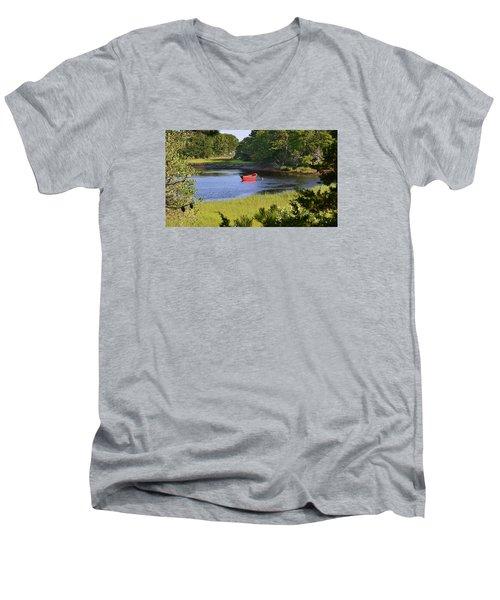 Red Boat On The Herring River Men's V-Neck T-Shirt