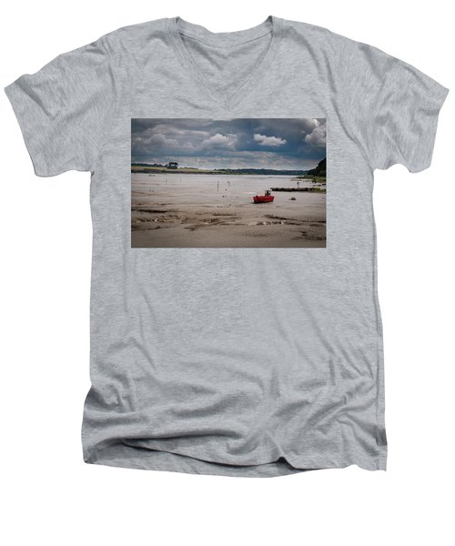 Red Boat On The Mud Men's V-Neck T-Shirt