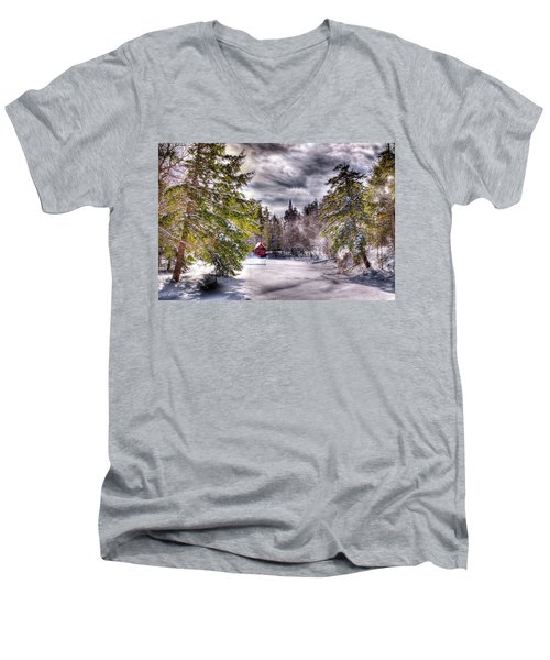 Men's V-Neck T-Shirt featuring the photograph Red Boathouse After The Storm by David Patterson