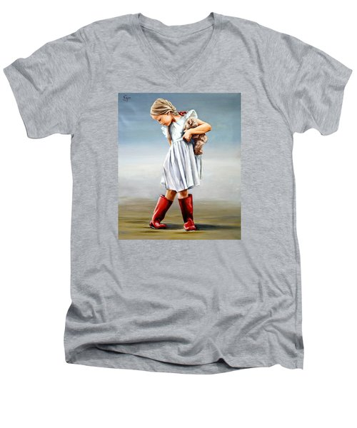 Red Boots Men's V-Neck T-Shirt by Natalia Tejera