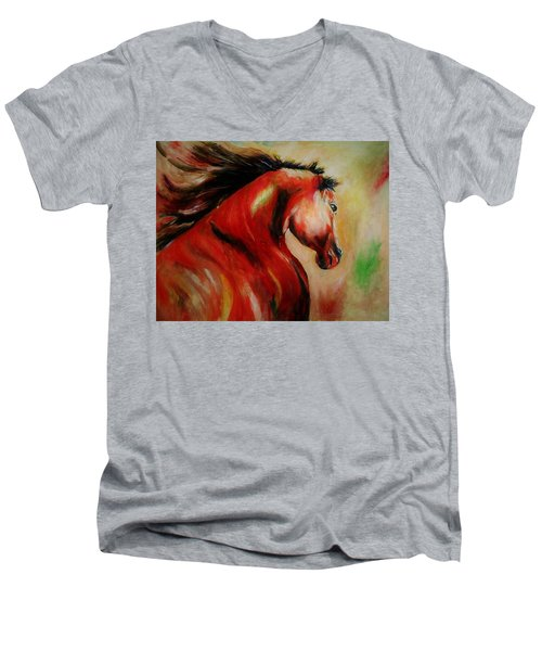Red Breed Men's V-Neck T-Shirt by Khalid Saeed
