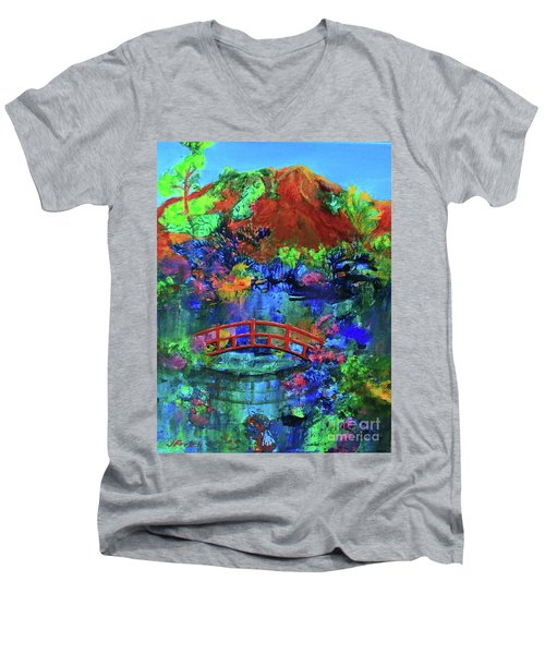Red Bridge Dreamscape Men's V-Neck T-Shirt by Jeanette French