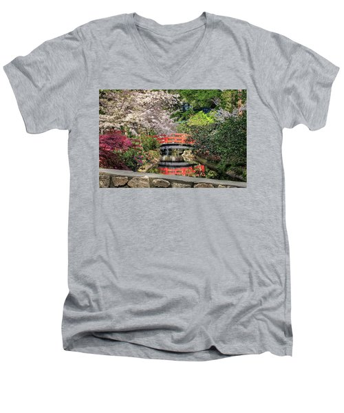 Men's V-Neck T-Shirt featuring the photograph Red Bridge Spring Reflection by James Eddy