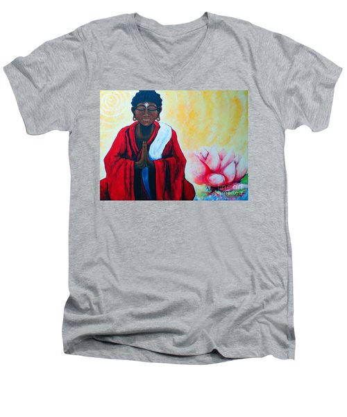 Red Buddha Lotus Men's V-Neck T-Shirt by Jackie Carpenter