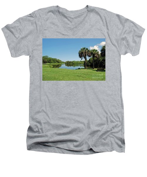 Men's V-Neck T-Shirt featuring the photograph Red Bug Slough by Gary Wonning
