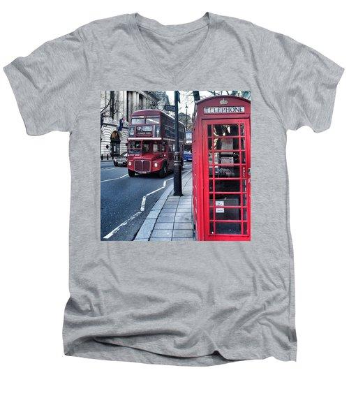 Red Bus In London  Men's V-Neck T-Shirt
