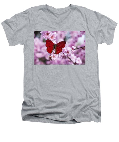 Red Butterfly On Plum  Blossom Branch Men's V-Neck T-Shirt
