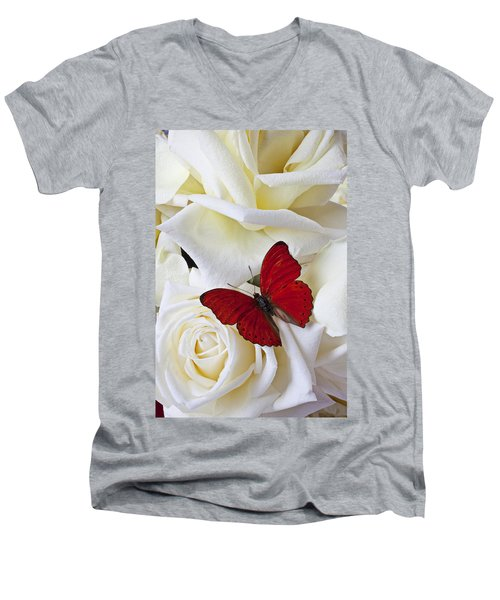 Red Butterfly On White Roses Men's V-Neck T-Shirt by Garry Gay