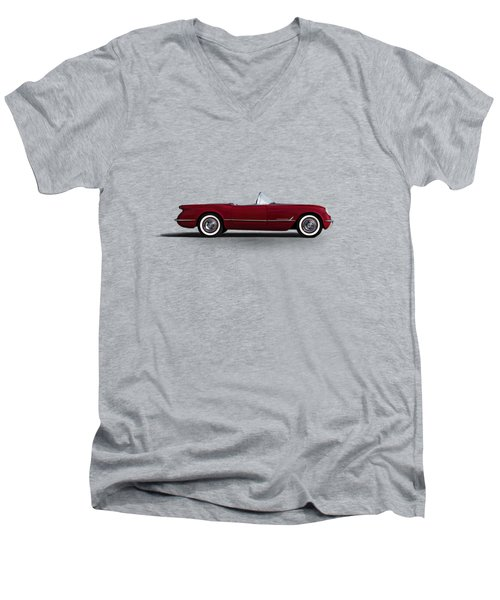 Men's V-Neck T-Shirt featuring the digital art Red C1 Convertible by Douglas Pittman