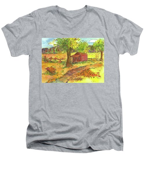 Men's V-Neck T-Shirt featuring the painting Red Cabin In Autumn  by Cathie Richardson