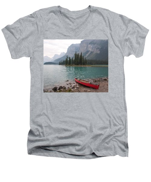 Red Canoe Men's V-Neck T-Shirt by Catherine Alfidi