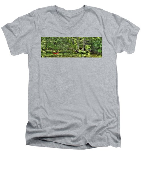 Men's V-Neck T-Shirt featuring the photograph Red Canoe Panorama by David Patterson