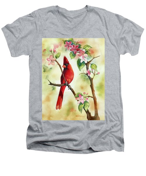 Red Cardinal And Blossoms Men's V-Neck T-Shirt