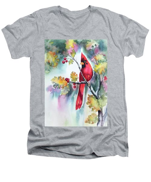 Red Cardinal With Berries Men's V-Neck T-Shirt