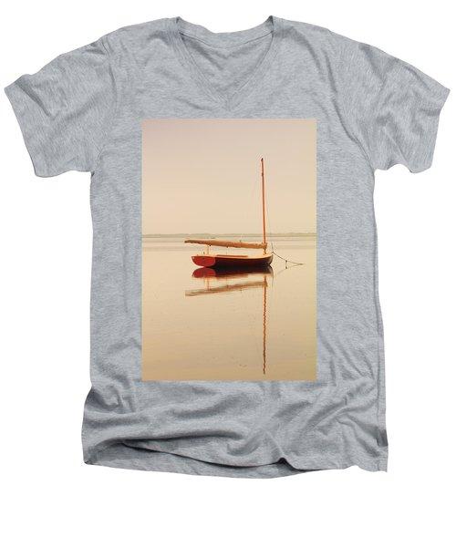 Red Catboat On Misty Harbor Men's V-Neck T-Shirt by Roupen  Baker