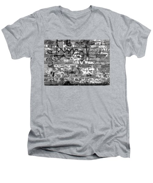 Red Construction Brick Wall And Spray Can Art Signatures Men's V-Neck T-Shirt