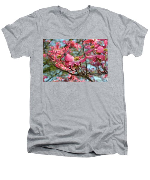 Red Dogwood Flowers Men's V-Neck T-Shirt