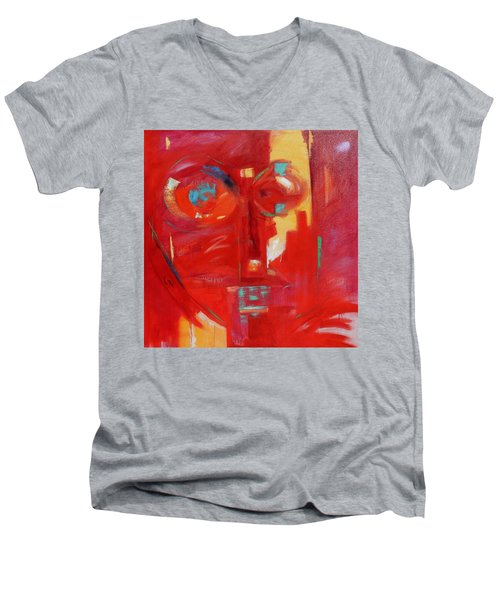 Men's V-Neck T-Shirt featuring the painting Red Face by Gary Coleman