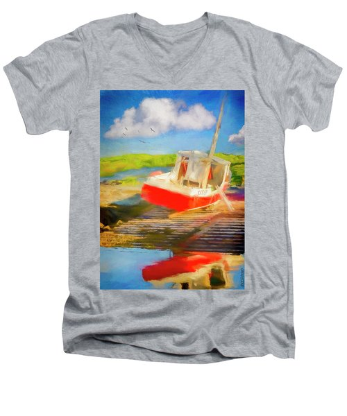 Red Fishing Boat Men's V-Neck T-Shirt
