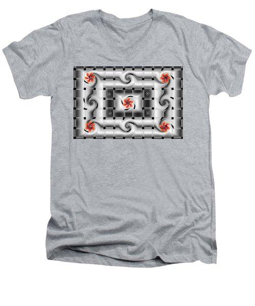 Red Floral Fractal Men's V-Neck T-Shirt