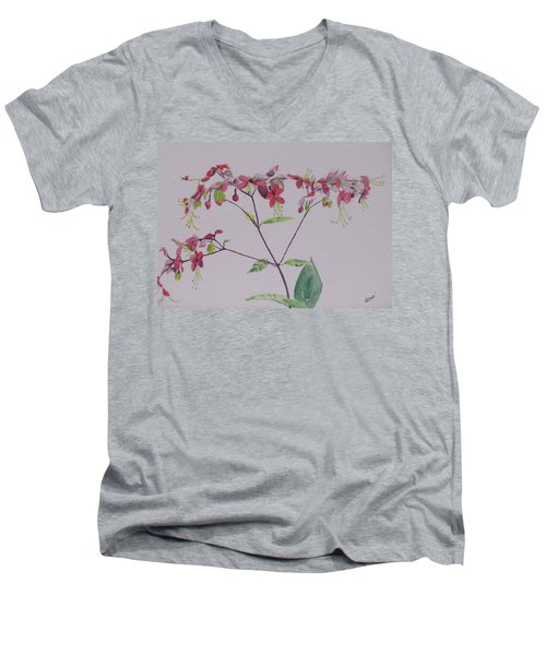 Red Flower Vine Men's V-Neck T-Shirt by Hilda and Jose Garrancho