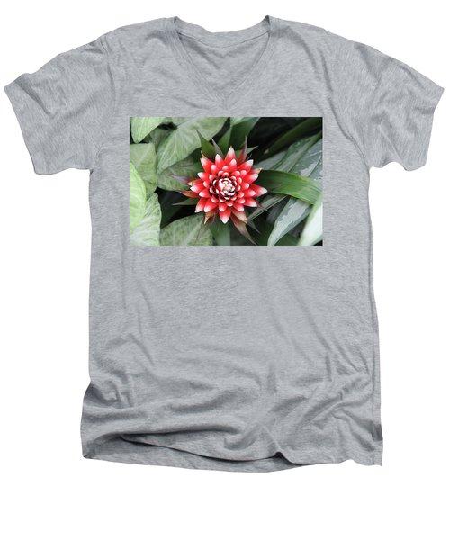 Red Flower With White Tips Men's V-Neck T-Shirt